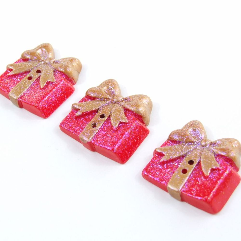 Red Glitter Gift Buttons