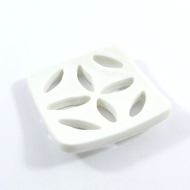 Dill petal cut-out design square buttons 60mm - White