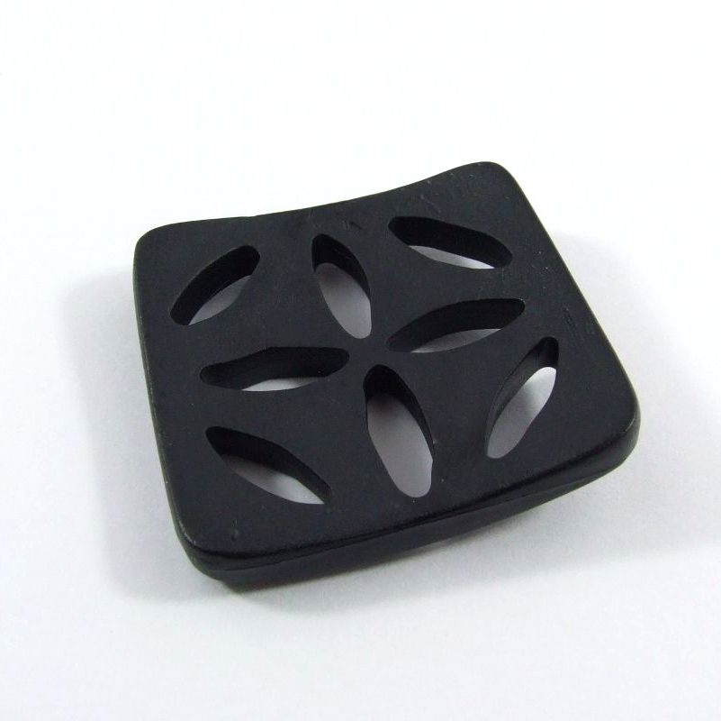 Dill petal cut-out design square buttons 60mm - Black