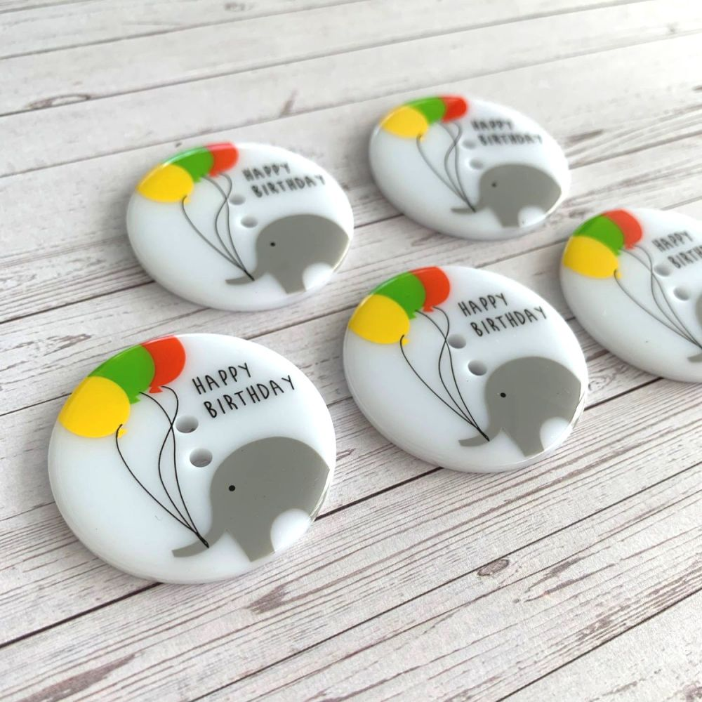 Happy Birthday Elephant Balloon Buttons