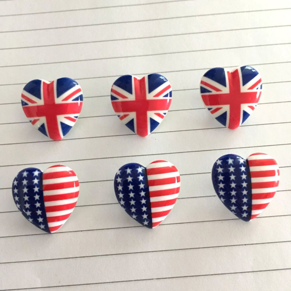 Heart Shaped Patriotic Flag Print Buttons