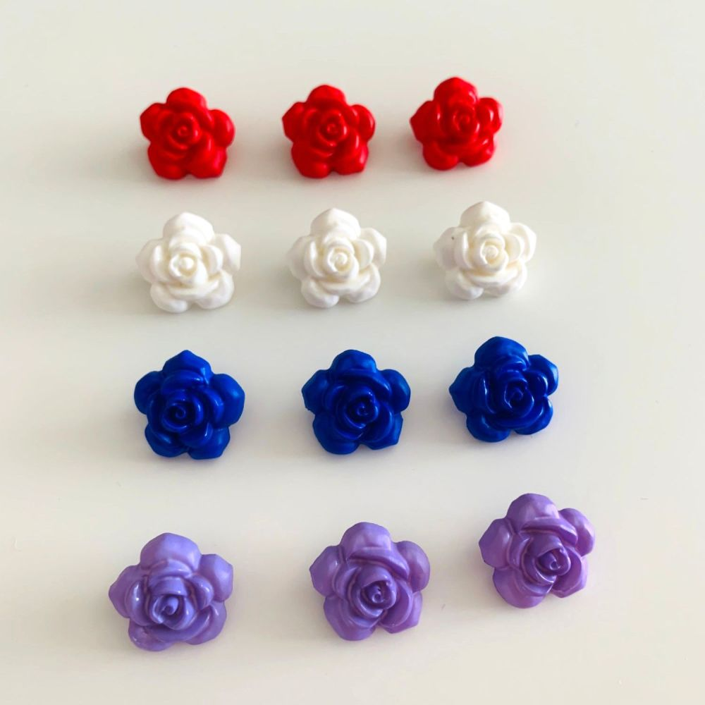 Rose Shaped Shank Buttons - 4 colours