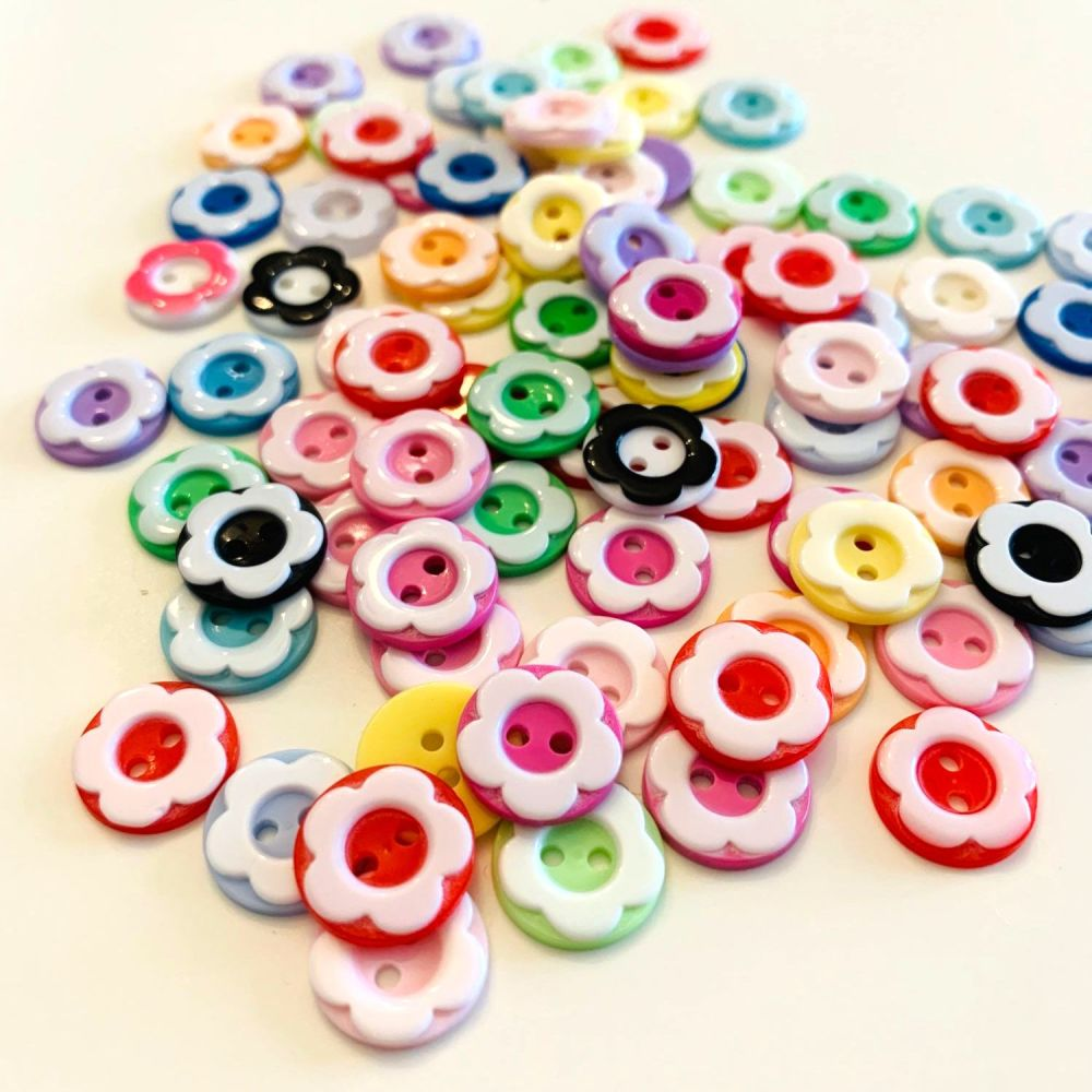 Mini Novelty Flower Buttons (80pk)