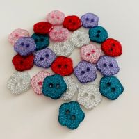 Glitter Flower Shaped Buttons - 5 colours