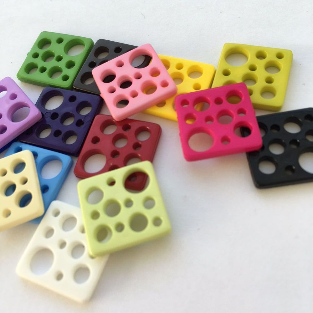 """Cheesy!"" Multi Hole Square Buttons"