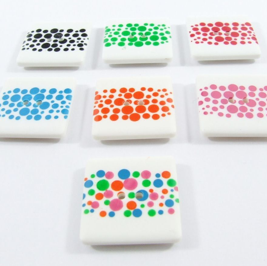 Dill Bubble Print Square Buttons