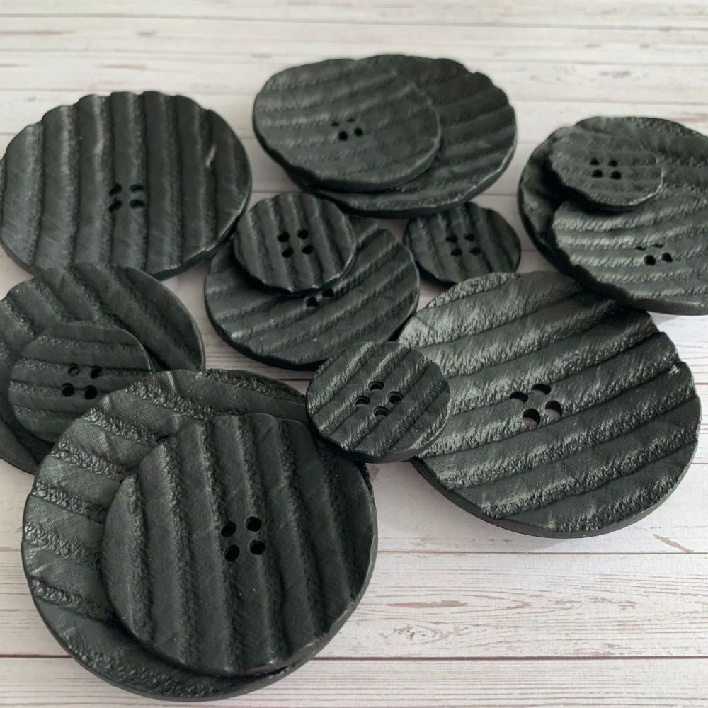 Black Textured Statement Coat Buttons - 3 sizes
