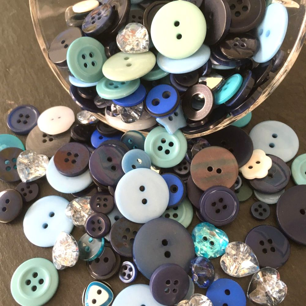 50g Assorted 'Super Blue Hues' Button Mix