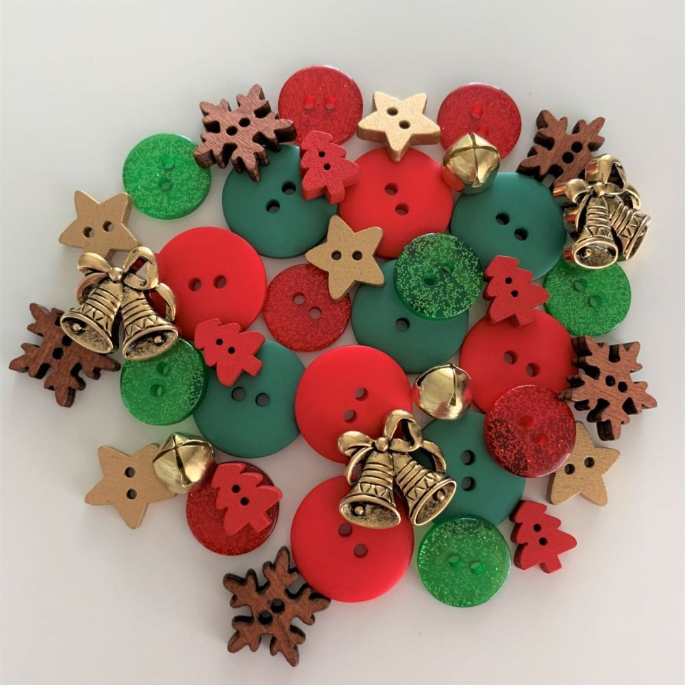 Gold Bells & Snowflakes Christmas Button Mix