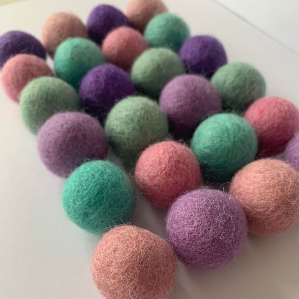 Unicorn Inspired Wool Felt Balls Mix (24)