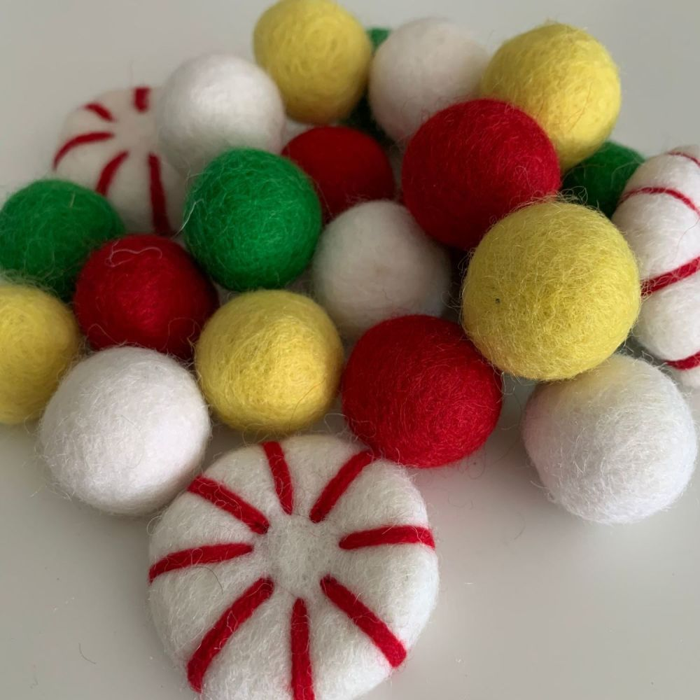 2.5cm Merry and Bright Peppermint Christmas Wool Felt Balls Mix