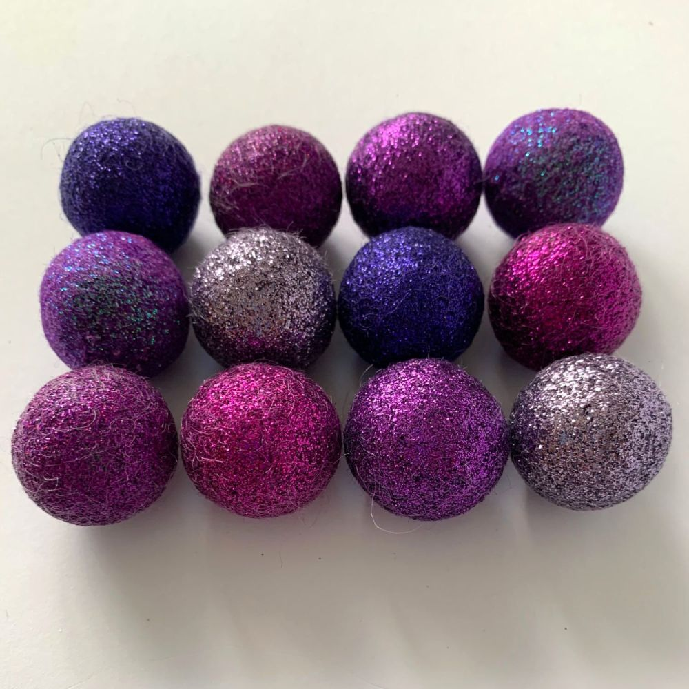 12 x 2.5cm Purple Hues Inspired Glitter Wool Felt Balls Mix