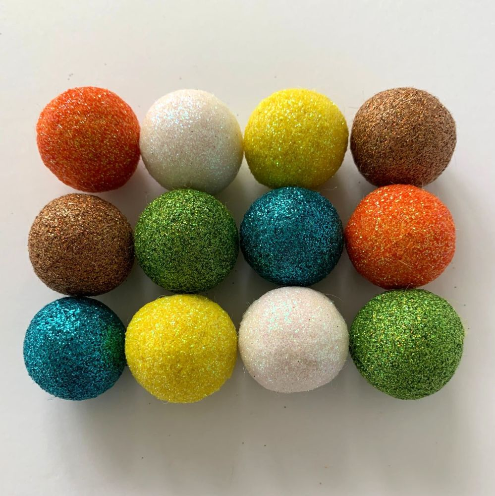 12 x 2.5cm Geometric Retro Inspired Glitter Wool Felt Balls Mix