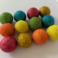 12 x 2.5cm Summer Bright's Inspired Glitter Wool Felt Balls Mix