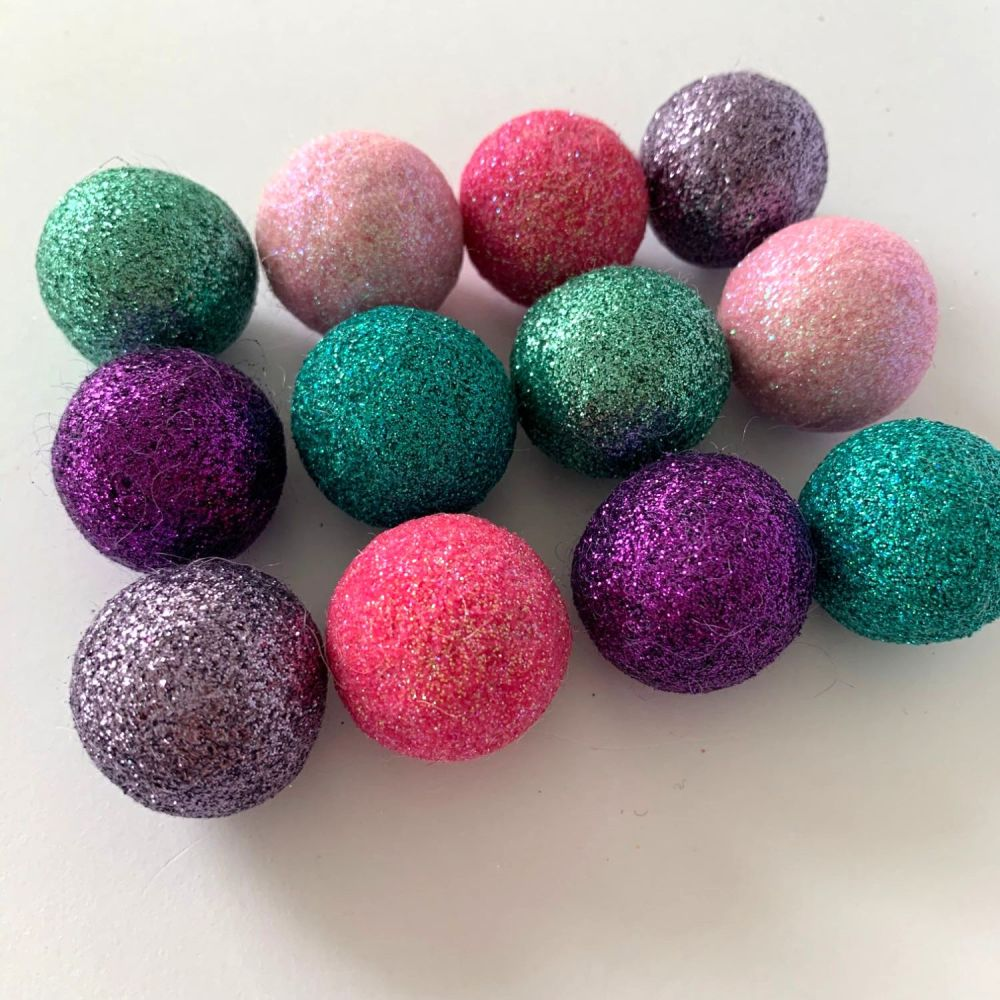 12 x 2.5cm Mermaid Inspired Glitter Wool Felt Balls Mix