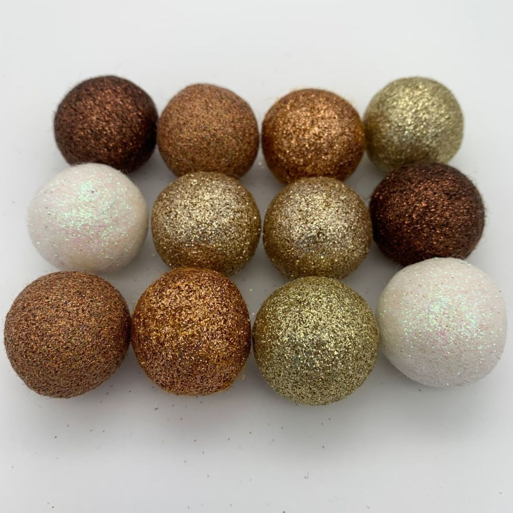 12 x 2.5cm Pebble Inspired Glitter Wool Felt Balls Mix