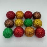 12 x 2.5cm Autumn Inspired Glitter Wool Felt Balls Mix