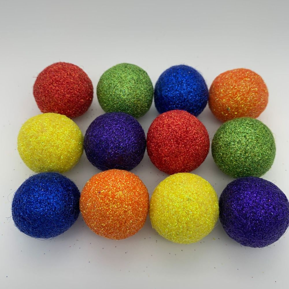 12 x 2.5cm Circus Bright's Inspired Glitter Wool Felt Balls Mix