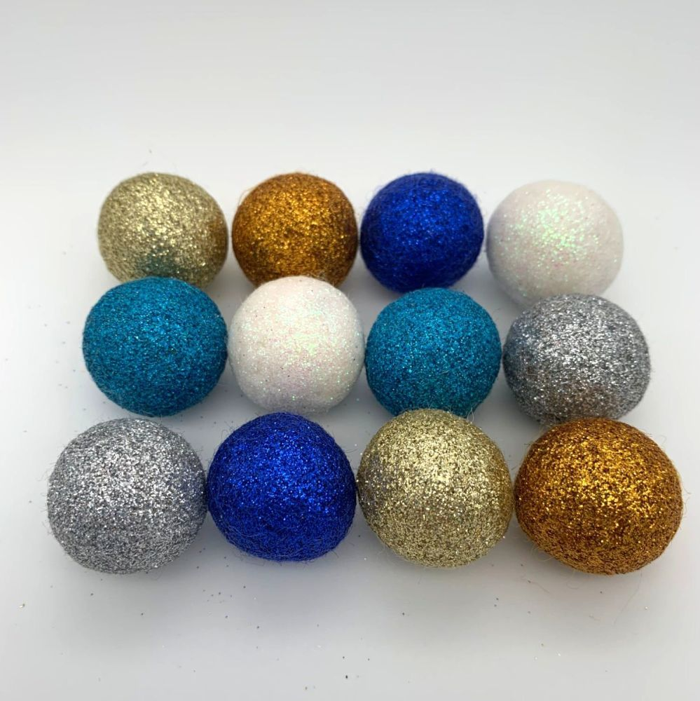 12 x 2.5cm Seaside Inspired Glitter Wool Felt Balls Mix