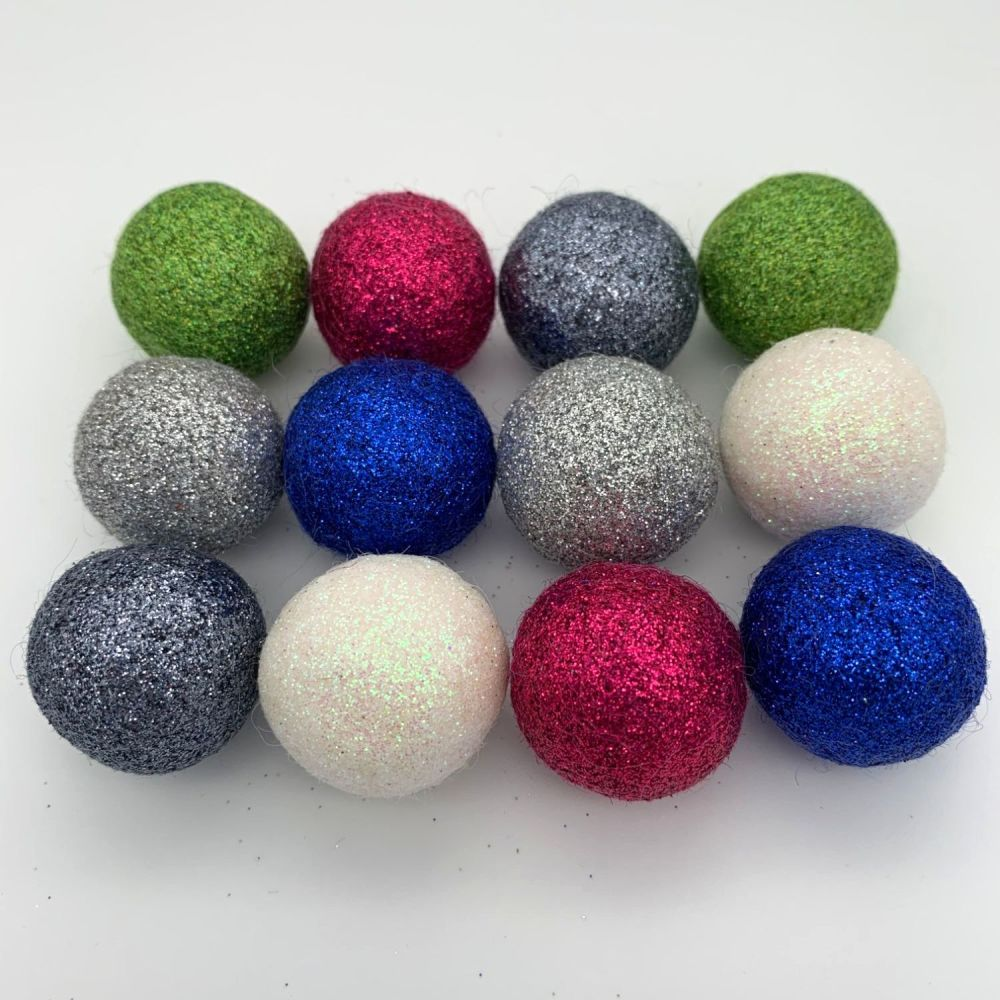 12 x 2.5cm Jazz Inspired Glitter Wool Felt Balls Mix