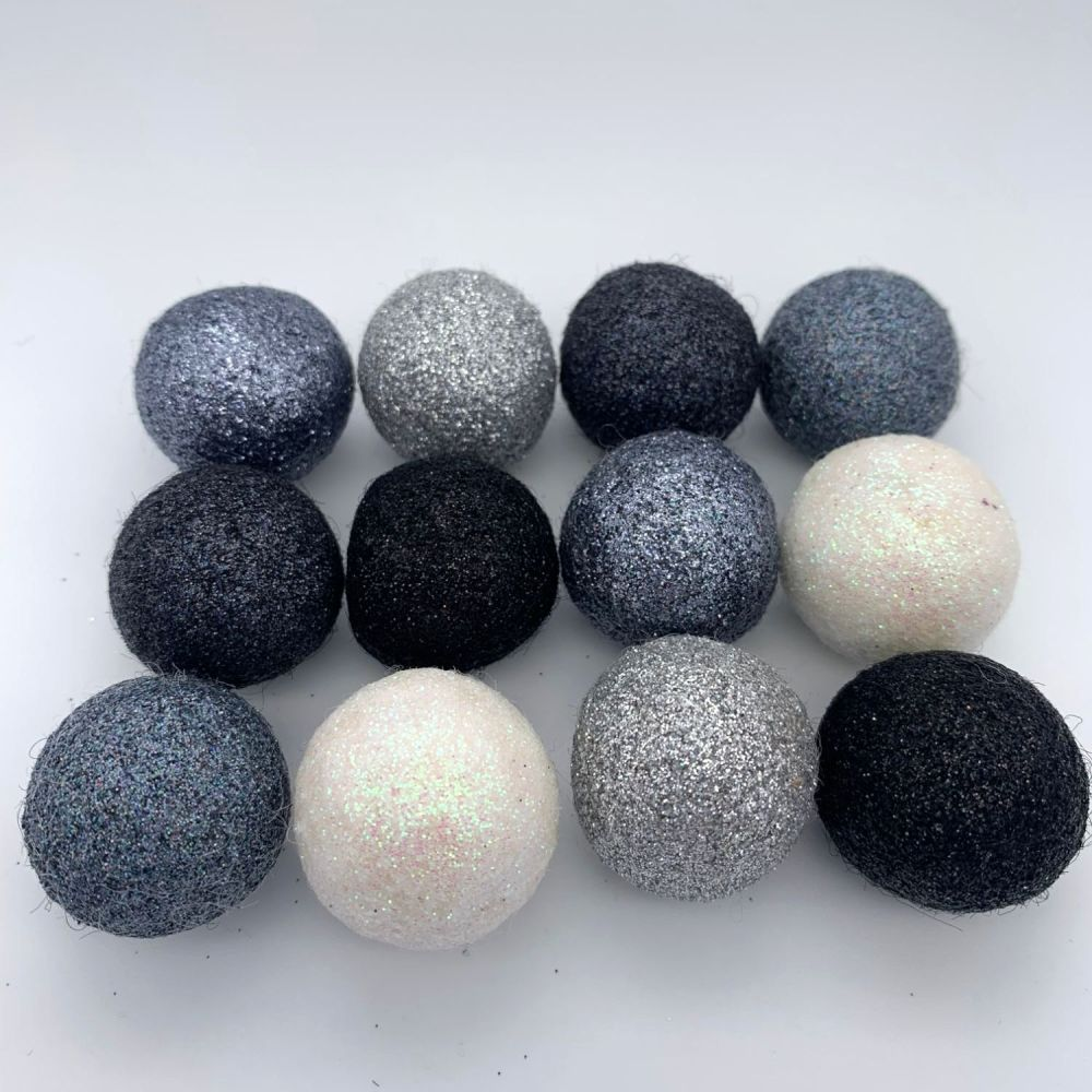 12 x 2.5cm Monochrome Inspired Glitter Wool Felt Balls Mix