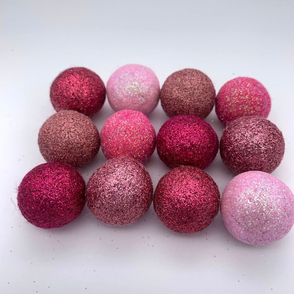 12 x 2.5cm Pretty in Pink Inspired Glitter Wool Felt Balls Mix