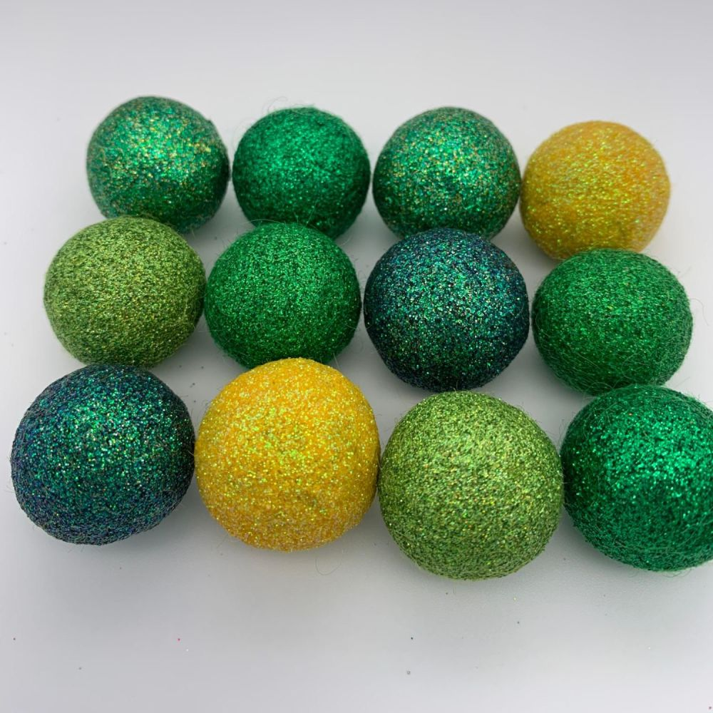 12 x 2.5cm Evergreen Inspired Glitter Wool Felt Balls Mix