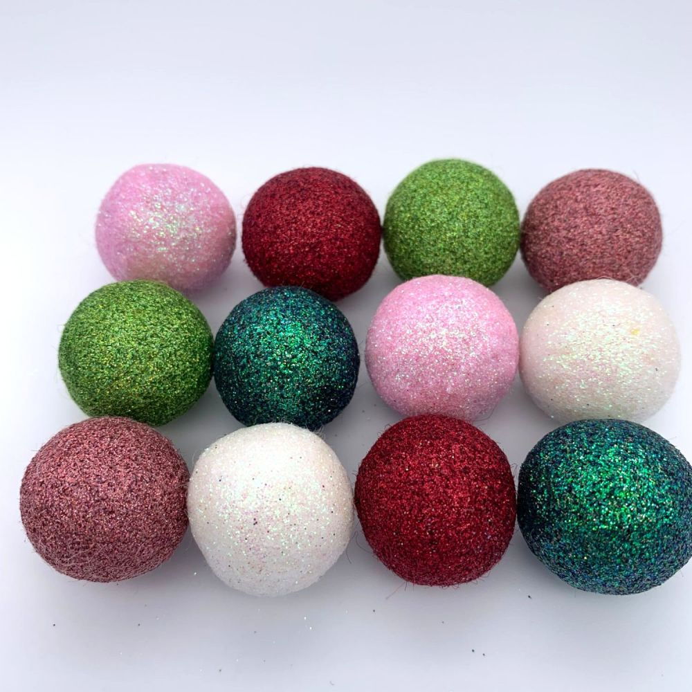 12 x 2.5cm Rose Garden Inspired Glitter Wool Felt Balls Mix