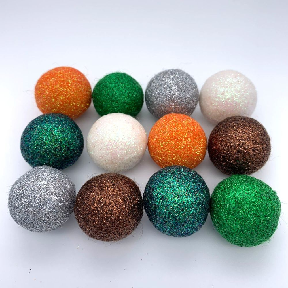 12 x 2.5cm Wild Woods Inspired Glitter Wool Felt Balls Mix