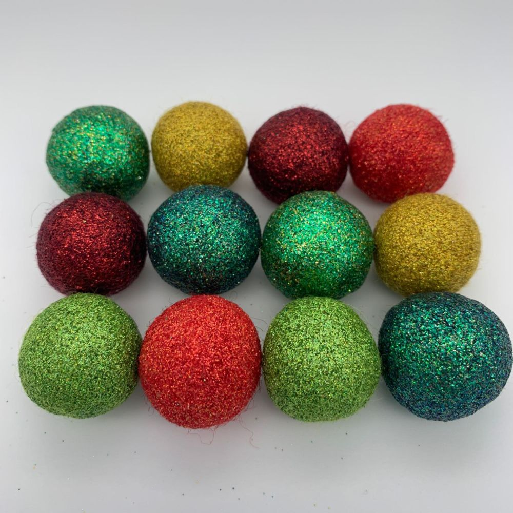 12 x 2.5cm Cherry Tree Inspired Glitter Wool Felt Balls Mix
