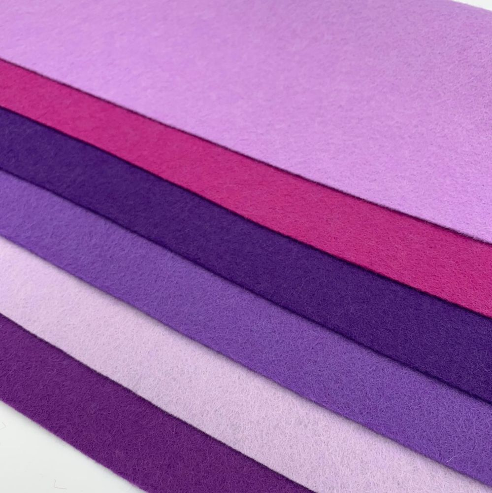 30% Wool Blend Felt Collection - Purple Hues
