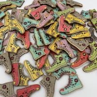 Novelty Wooden Sneaker Buttons - 6 colours