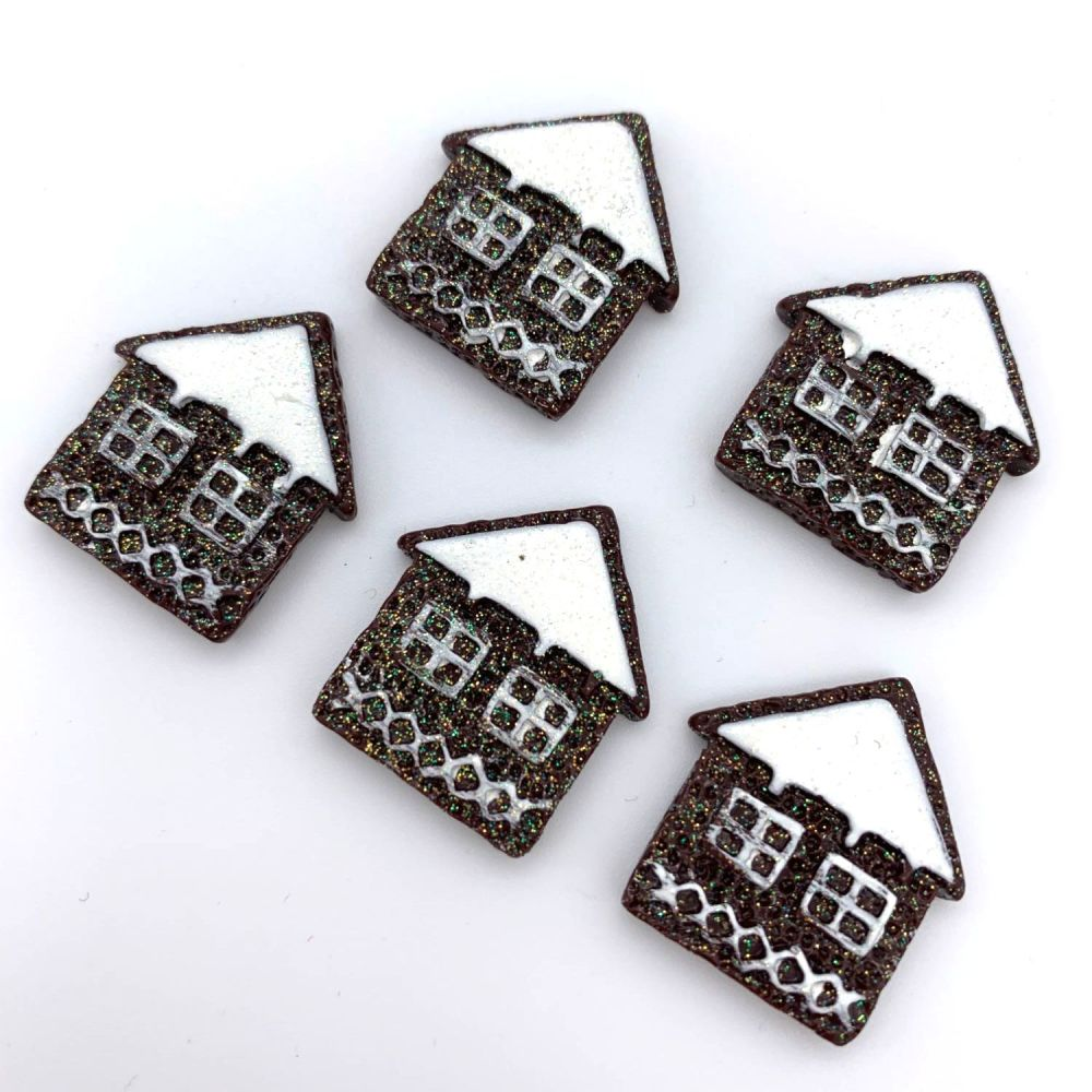 Christmas Gingerbread Houses Flatback Embellishments / Cabochons