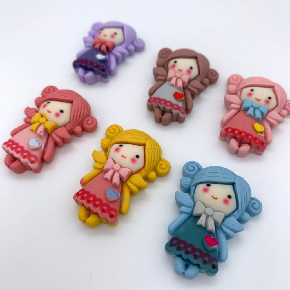 Kawaii Bow Girls Flatback Embellishments / Cabochons