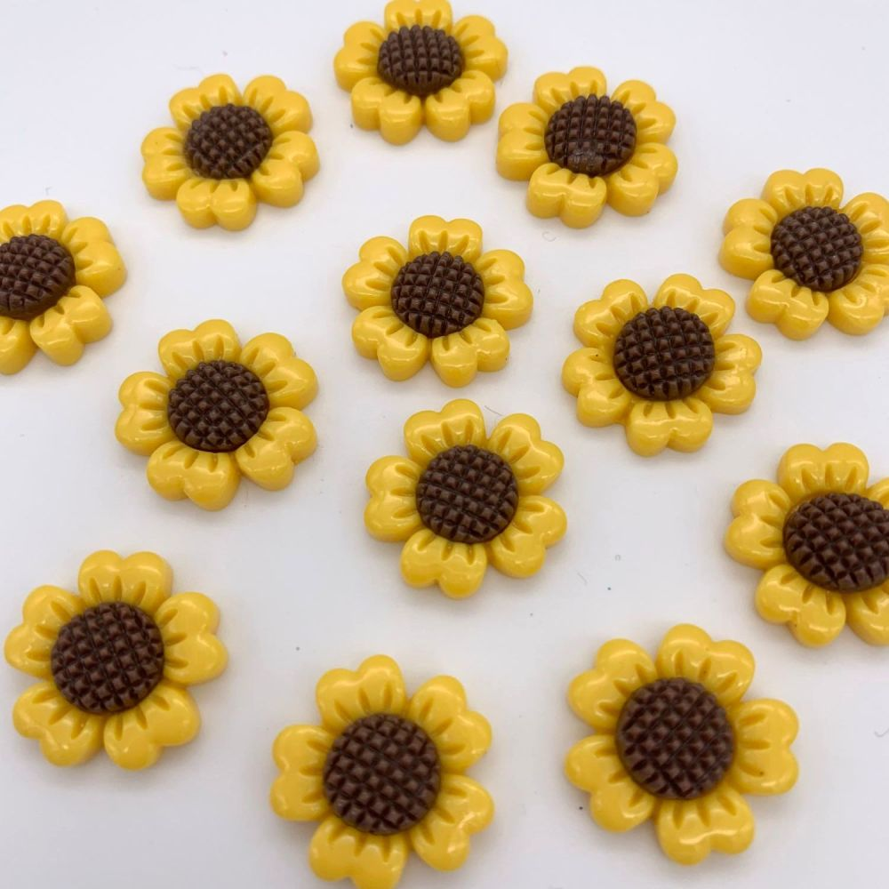 Kawaii Sunflower Flatback Embellishments / Cabochons