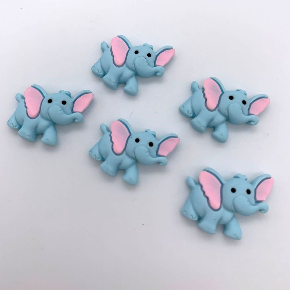 Kawaii Adorable Elephants Flatback Embellishments / Cabochons