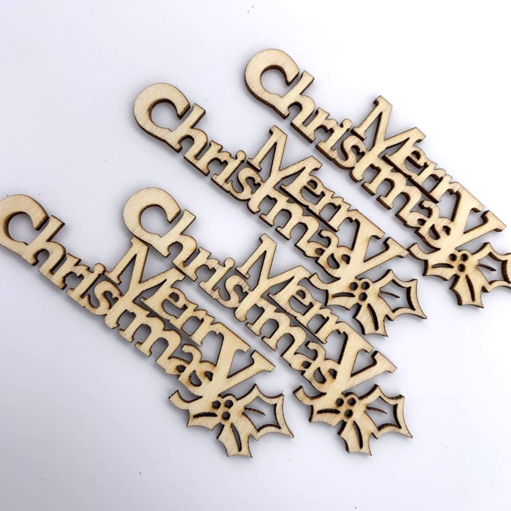 Wooden Merry Christmas Plaques