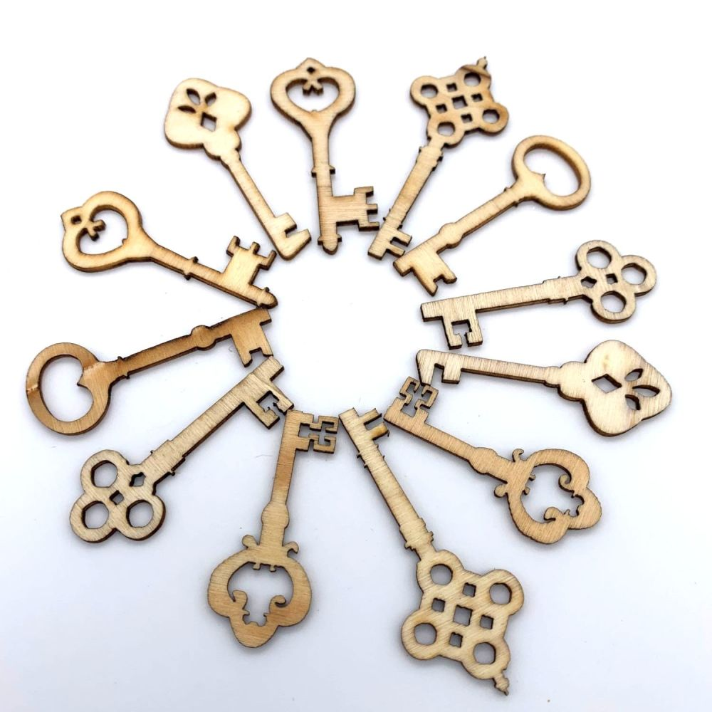 Mixed Wooden Key Shaped Embellishments