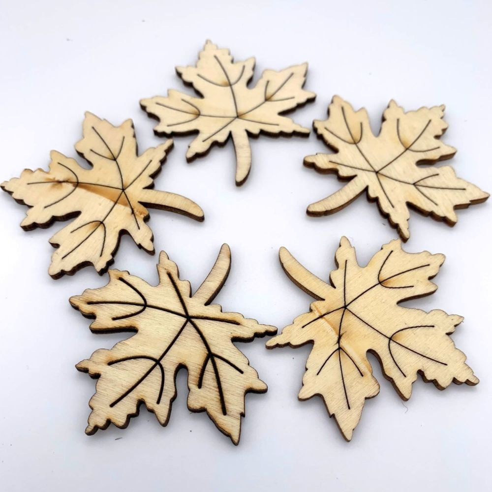 Wooden Maple Leaf Embellishments
