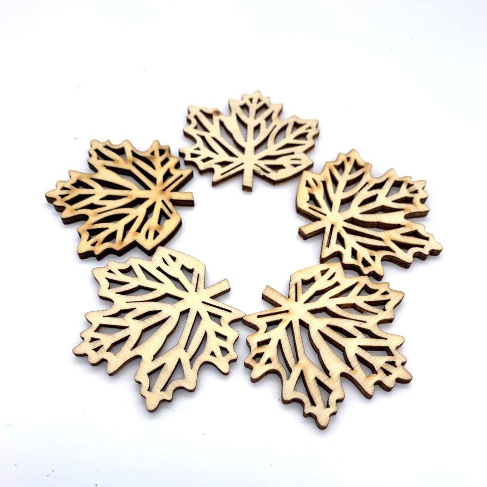 Wooden Oak Leaf Embellishments