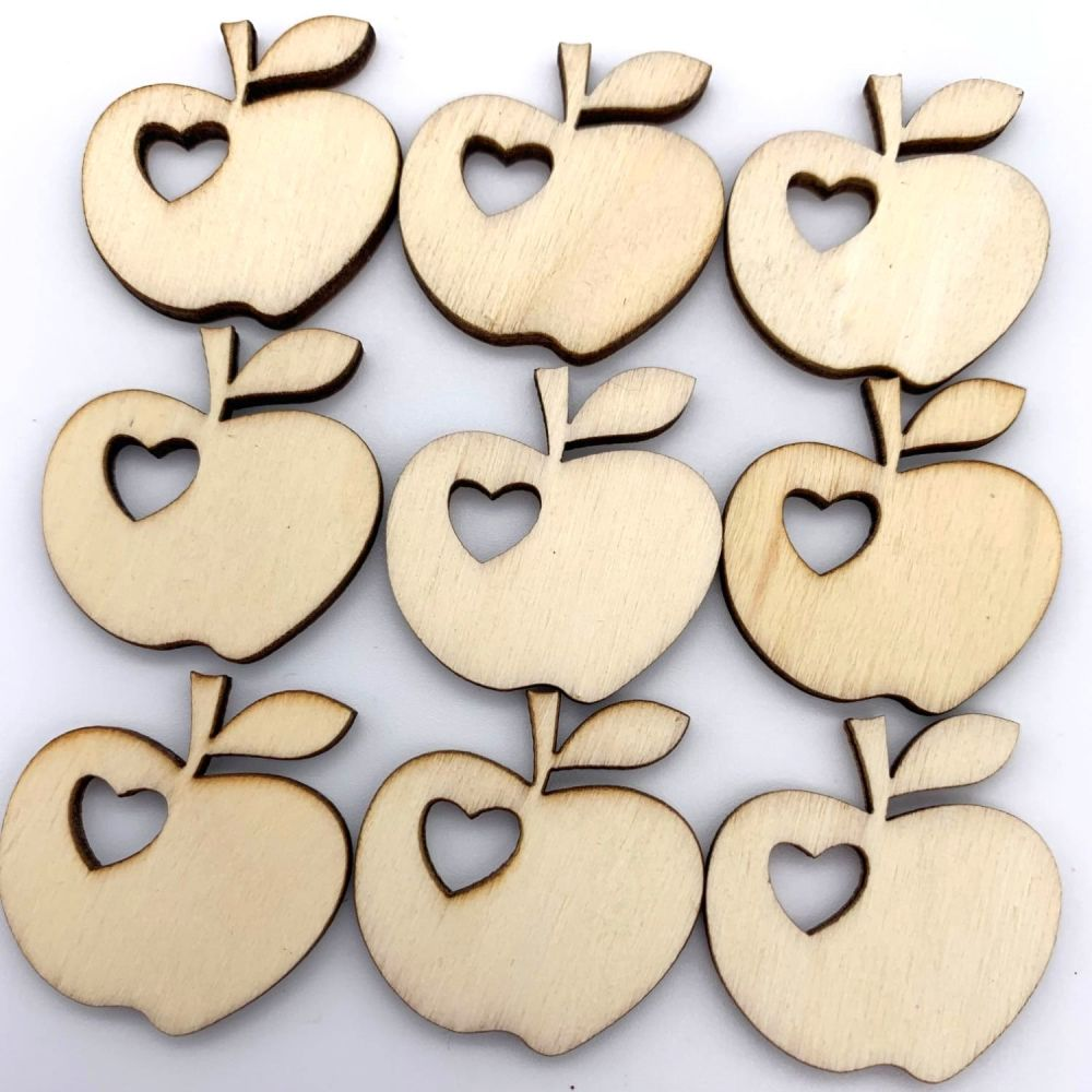 Wooden Apple Heart Embellishments