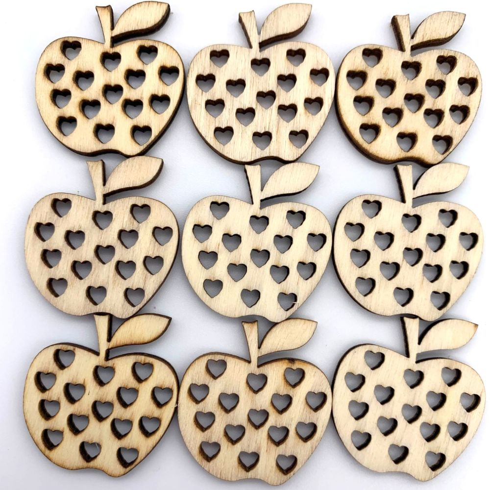 Wooden Apple Multi Heart Embellishments