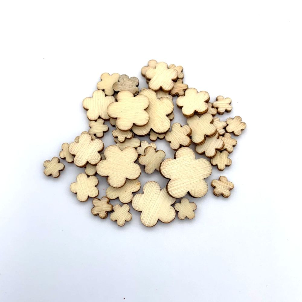 Mini Wooden Blossom Flowers 48pk