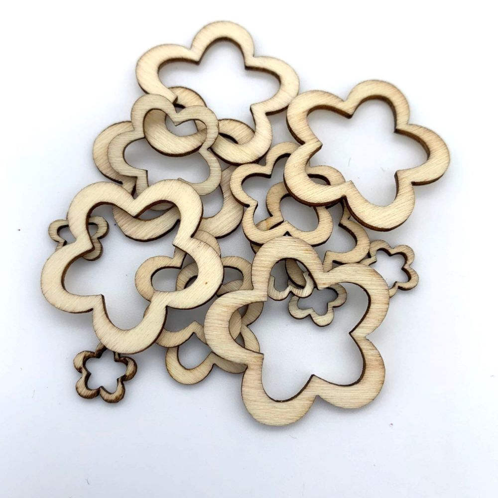 Wooden Flower Cut-Out Shape Embellishments