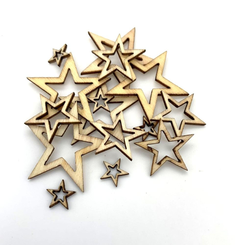 Wooden Star Cut-Out Shape Embellishments