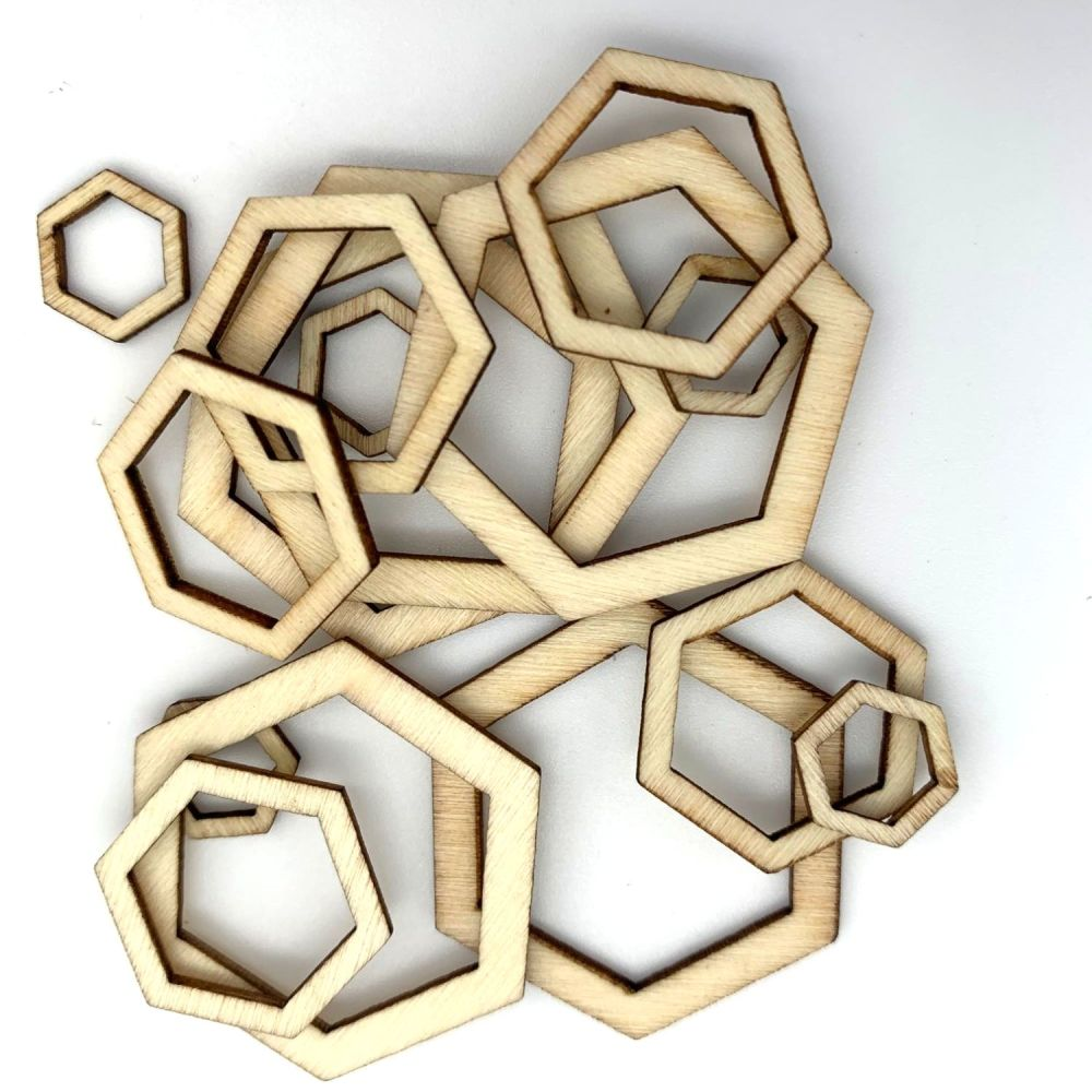 Wooden Hexagon Cut-Out Shape Embellishments