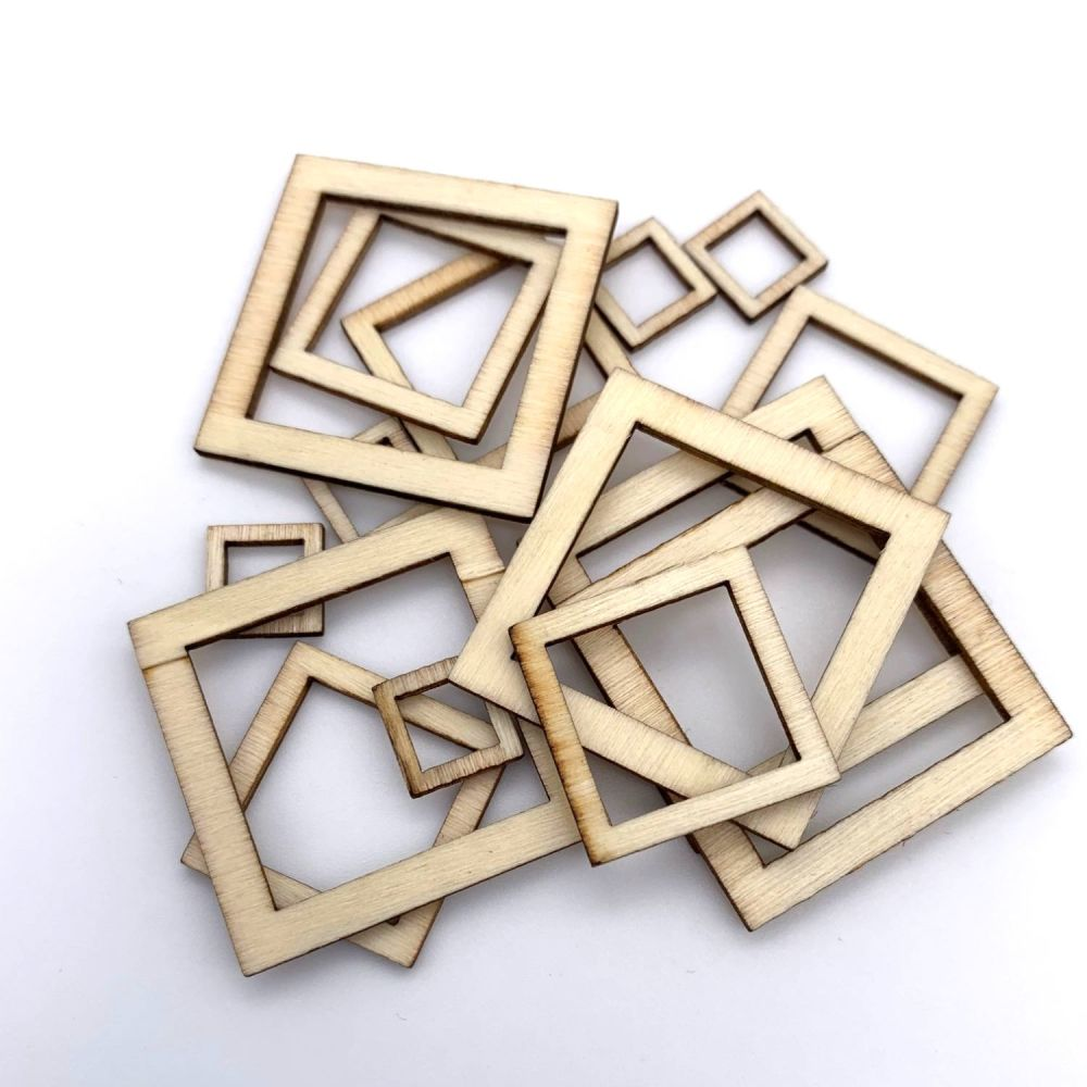 Wooden Square Cut-Out Shape Embellishments