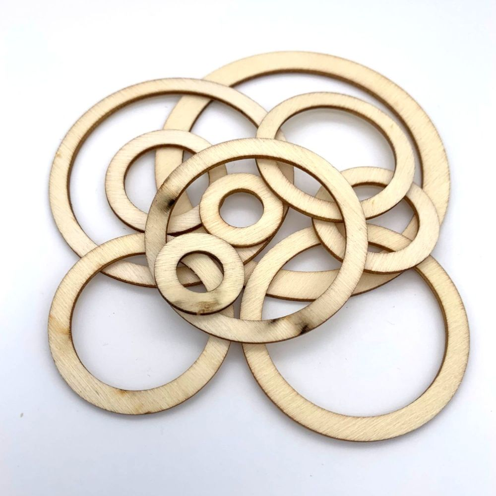Wooden Circular Cut-Out Shape Embellishments