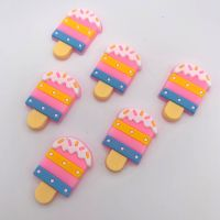 Kawaii Strawberry Sprinkle Popsicle Flatback Embellishments / Cabochons