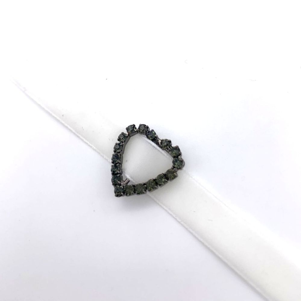 Black Heart Rhinestone Ribbon Buckles / Sliders